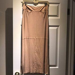 Max Studio Suede Tan Floor Length Skirt